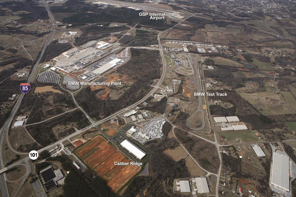 Aerial view of caliber ridge and BMW facilities