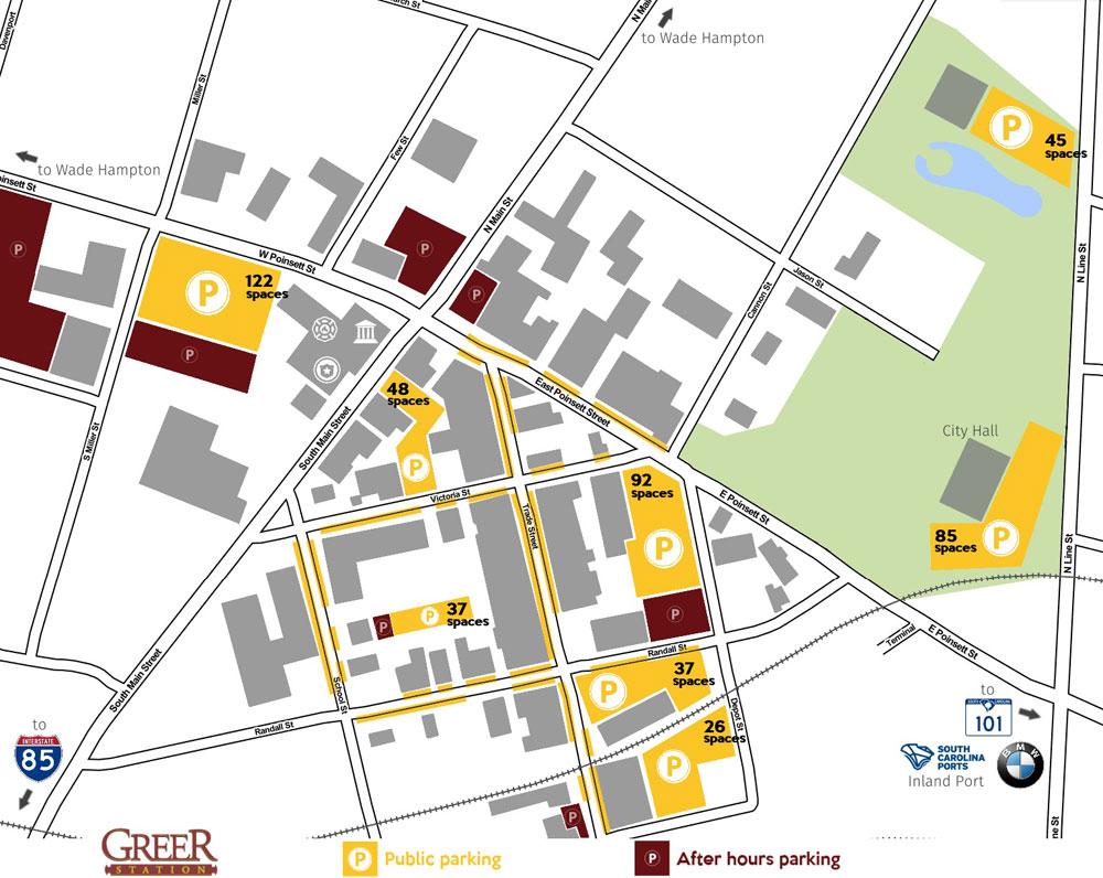 Map diagram of Downtown Greer