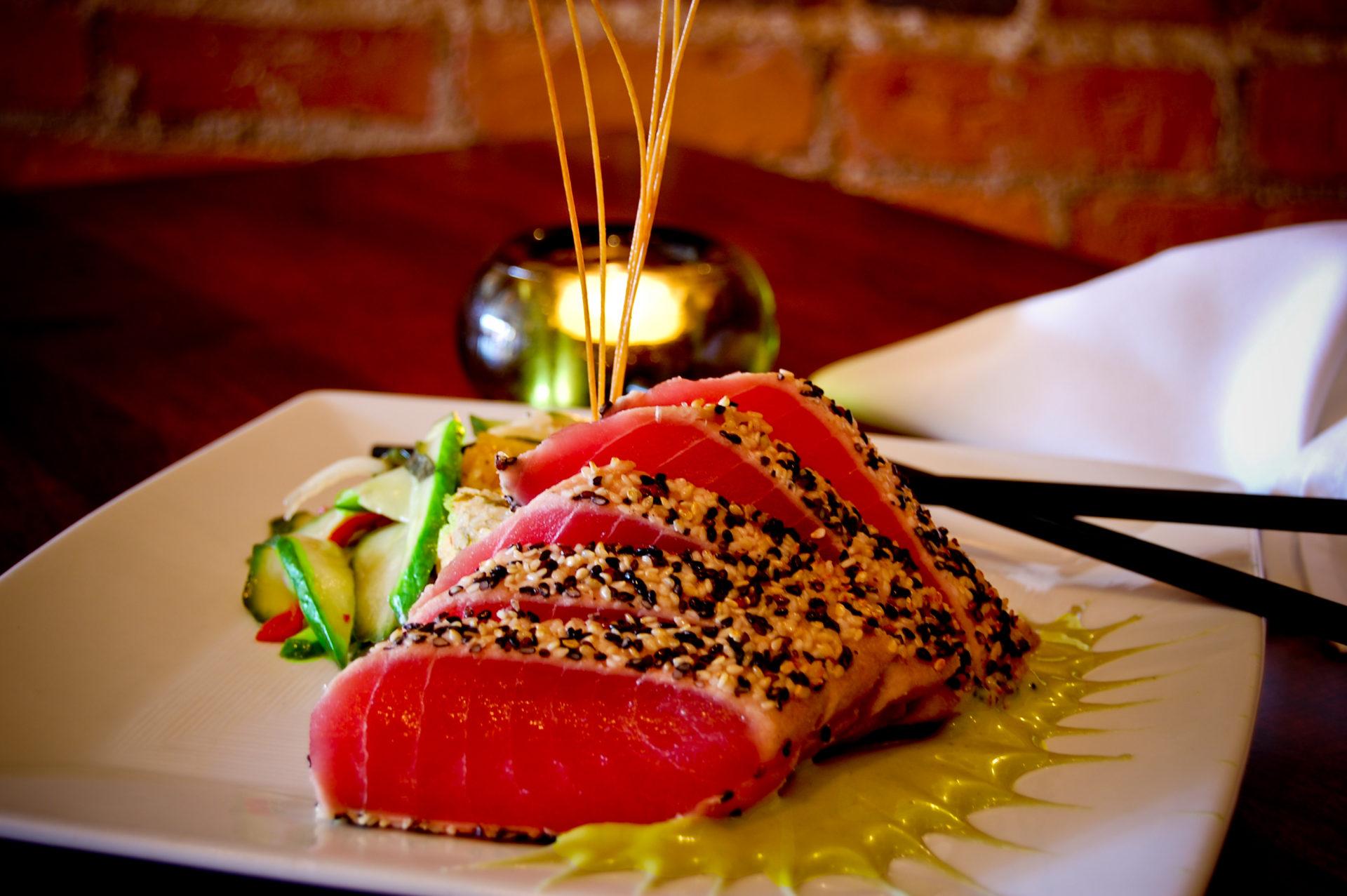 Seared tuna dish at restaurant in greer