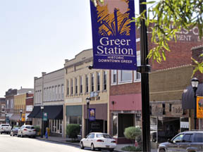 Greer station sign downtown