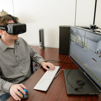 man using vr on his computer